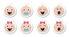 Baby boy, baby girl face - crying, with soother, smile icons - stock illustration