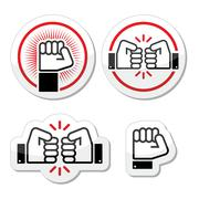 Fist, fist bump vector icons set Stock Illustration