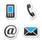 Contact web and internet icons set Stock Illustration