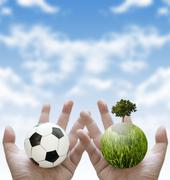 play football and plant the tree, sport charity for sustainable concept - stock illustration