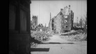 Street passing through destroyed buildings Stock Footage