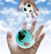 Stock Illustration of share football world cup scores to the world