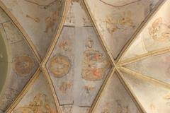 Ceiling of the church - stock photo