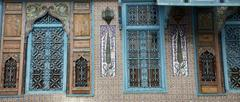 Old Tunisian window with classical Arab ornaments Stock Photos
