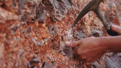 Industrial Mining Rock Chipping Close Up Stock Footage