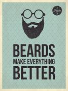 hipster vintage trendy look quotes: beards make everything better - stock illustration