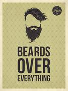 hipster vintage trendy look quotes: beards over everything - stock illustration