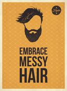 Hipster vintage trendy look quotes, embrace messy hair Stock Illustration