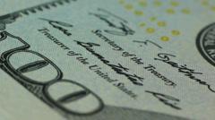 Macro shot of rotating American dollar Stock Footage