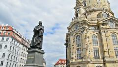 Panning over Statue Martin Luther, Church of our Lady - Dresden Stock Footage