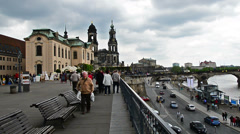 Panning over Bruhlsche Terrasse in Dresden, Germany Stock Footage