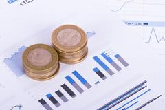 Stock Photo of coins on chart graphs and financial data