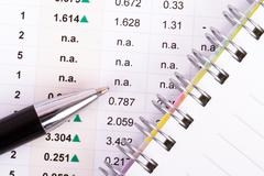 Stock Photo of financial data with notebook