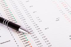 Stock Photo of pen on financial data results