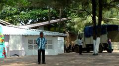India Goa District Utorda beach 023 staff behind restaurant Stock Footage