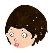 cartoon girl with concerned expression - stock illustration