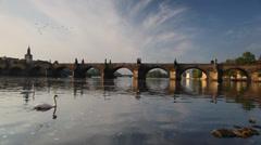 Charles Bridge in Prague at sunrise Stock Footage
