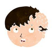 Cartoon boy with ugly growth on head Stock Illustration