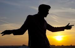 Billy Fury Statue at Albert Dock in Liverpool Stock Photos