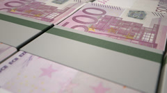 Cash laid out euro pan Stock Footage