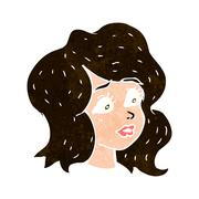 Cartoon woman looking concerned Stock Illustration