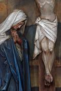 Virgin Mary under the Cross, 12th Stations of the Cross, Jesus dies on the cross Stock Photos