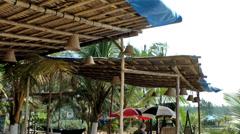 India Goa District Utorda beach 013 bamboo canopy of a beach cafe - stock footage