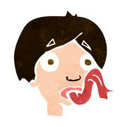 Cartoon head sticking out tongue Stock Illustration
