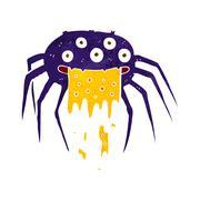 cartoon gross halloween spider - stock illustration