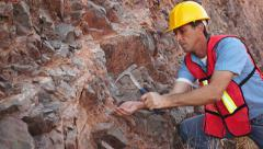 Industrial Mining Rock Chipping Male Stock Footage