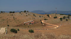 ROAD DOWNHILL KSAMIL, ALBANIA Stock Footage