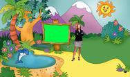 Kids 001 TV Studio Set-Virtual Green Screen Background PSDground PSD PSD Template