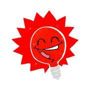 Happy flashing red light bulb cartoon Stock Illustration