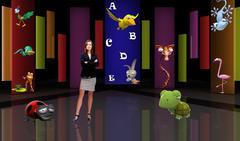 Kids 003 TV Studio Set - Virtual Green Screen Background PSD PSD Template