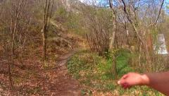 Walking through lianas in forest path Stock Footage
