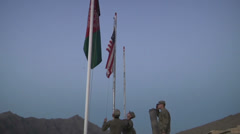 US-Army - Infantry Division - Chora Valley Afghanistan - Removing Flag 01 Stock Footage