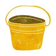 cartoon metal bucket - stock illustration