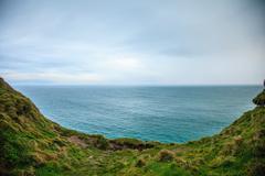 alantic ocean and field of green grass, ireland europe - stock photo
