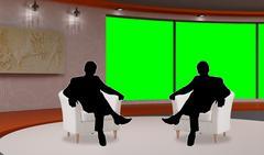 Talkshow 015 TV Studio Set - Virtual Green Screen Background PSD PSD Template