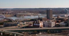 Cincinnati buildings and highway 4k Stock Footage