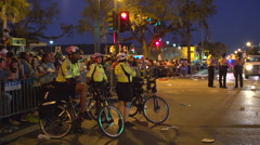EMS bike crew at Endymion parade route Stock Footage