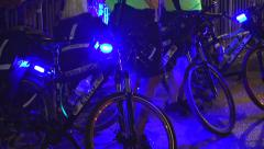 EMS bikes with emergency lights flashing Stock Footage