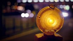 Road Work Light Stock Footage