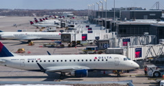 Delta airplanes at Minnesota airport Terminal C 4k Stock Footage
