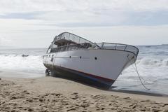 Boat Runs Aground Stock Photos