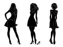 three beautiful slim women silhouettes - stock illustration