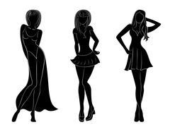 three slim attractive women silhouettes - stock illustration