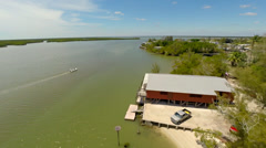 2.7K Footage : Aerial view of Ted Smallwood's Store on Chokoloskee Island Stock Footage