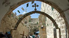 Christian Pilgrims at Via Dolorosa Old City Jerusalem Stock Footage