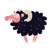 Stock Illustration of cartoon black sheep